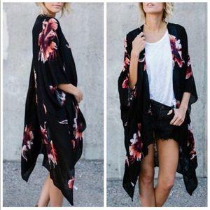LILAH🌸 floral print boho kimono black